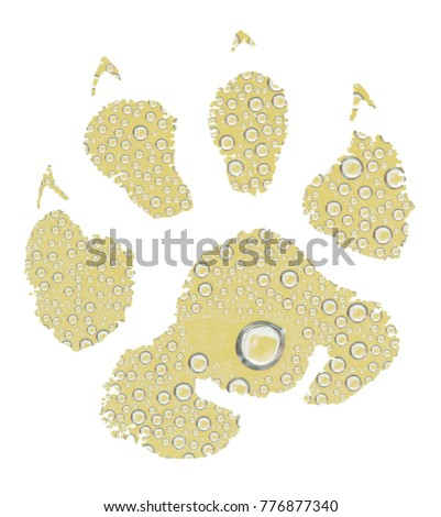 Animal footprint with yellow water drops background #776877340