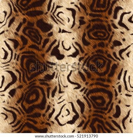 Animal fur. tiger skin panther seamless texture. fur rug
