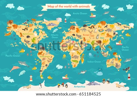 Animal map for kid. World poster for children, cute illustrated. Preschool cartoon globe with animals. Oceans and continent: South America, Eurasia, North America, Africa, Australia. Baby world map