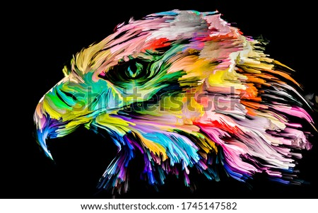 Animal Paint series. Eagle portrait in multicolor paint on subject of imagination, creativity and abstract art.