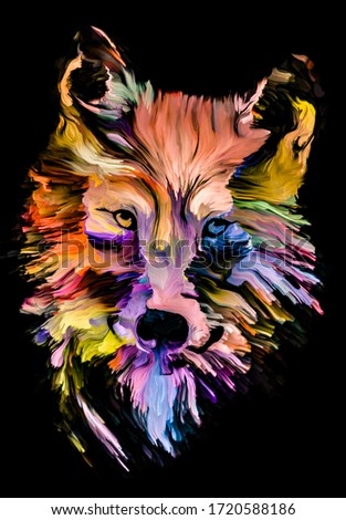 Animal Paint series. Wolf multicolor portrait in vibrant paint on subject of imagination, creativity and abstract art.