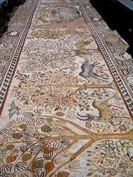 Animal patterned mosaics at the ruins of the Heraklea Lyncestis (Bitola) ancient city in teh Republic of North Macedonia.