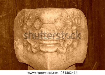 animal portrait in stone pillar in the Phoenix Town, Hunan Province, south china  #251803414
