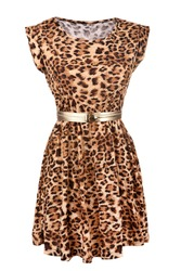 Animal print dress with golden belt isolated on white