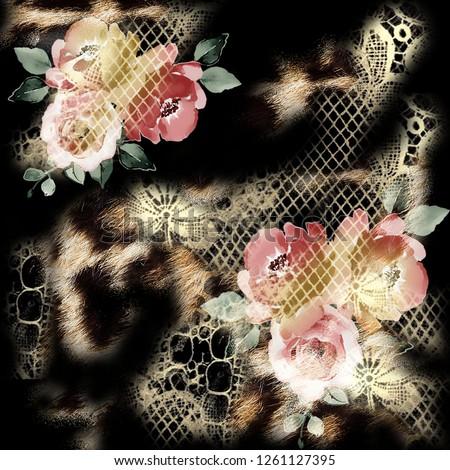 animal print. Scarf pattern. Flowers pattern, leopard pattern