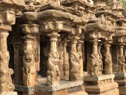 Animal sculptures of Lion carved in the pillars of small shrines at Kanchi Kailasanathar temple in Kanchipuram, Tamil nadu