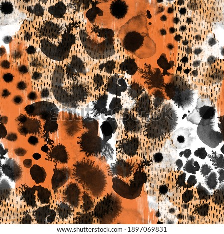 Animal skin seamless pattern. Ink brush stroke spots, blots, splatter. Creative leopard rosettes on textured background. Trendy illustration for surface wrapping, print, fabric design
