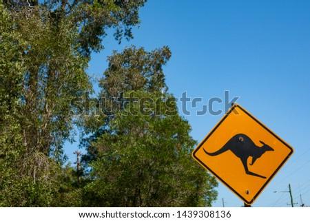 Animal warning sign of kangaroo in Queensland, Australia