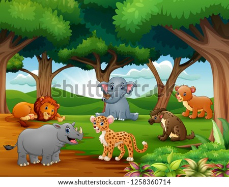 Animals cartoon are enjoying nature in the jungle #1258360714
