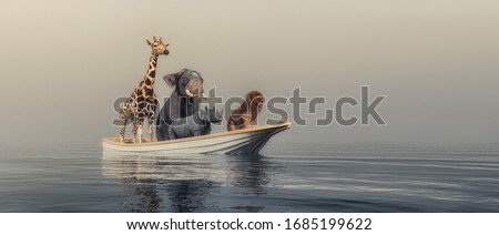 Animals in a boat traveling by sea . This is a 3d render illustration Stock photo ©