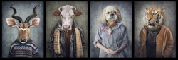 Animals in clothes on vintage style. People with heads of animals. Concept graphic, photo manipulation for cover, advertising, prints on clothing and other. Antelope, cow, dog, tiger.