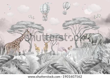 animals in the forest children's room wallpaper design Foto stock ©