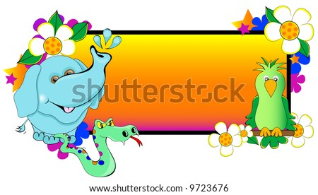 Animals including Elephant, Parrot and Snake, surrounding a colorful background.