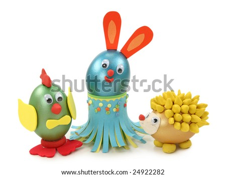 Animals made from egg,plasticine   and paper