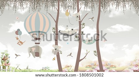 animals on trees in the jungle Foto stock ©