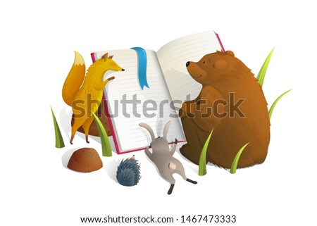 Animals reading textbook watercolor illustration. Fox, rabbit and bear studying metaphor isolated clipart on white background. Mammals cartoon characters learning lesson children book design element
