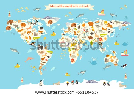Animals world map. Colorful cartoon illustration for children and kids. Preschool, education, baby, continents, oceans, drawn, Earth