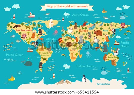 Animals World Map Preschool Illustration Baby Continents Oceans