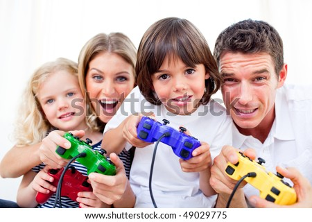 Animated family playing video game against a white background