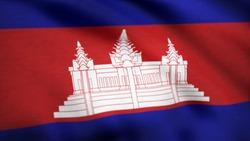Animated flag of Cambodia - seamless loop. Cambodia Flag. Background Seamless Looping Animation. 4K High Definition Video. Flag of Cambodia. Background Seamless Looping Animation.