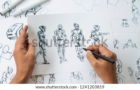 Animator designer Development designing drawing sketching development creating graphic pose characters sci-fi robot Cartoon illustration animation video game film production , animation design studio. #1241203819