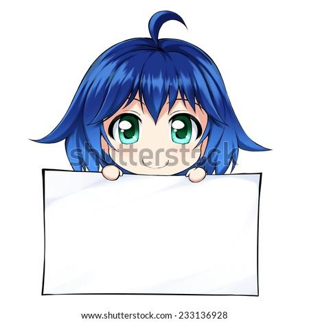 Stock Photo Anime cute girl with big blank form