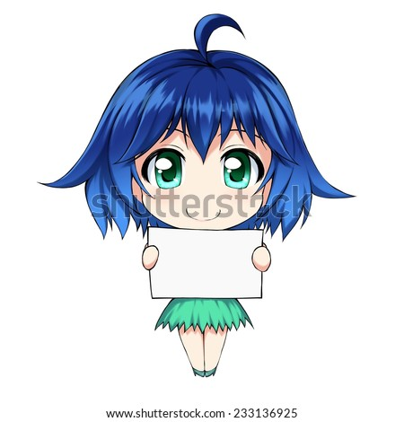Stock Photo Anime cute girl with blank form