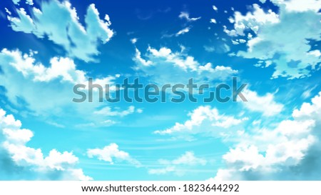 Anime Day Beautiful Clouds Background Illustration Landscape