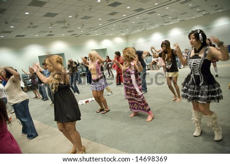 """Anime Expo 2008, Los Angeles Convention Center, July 5th, 2008:  Anime fans at a workshop to learn """"Para Para Dancing"""""""