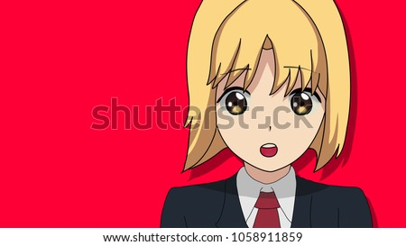 Stock Photo Anime Girl Blonde Hair Teenage in a Japanese High School Uniform with Beautiful Eyes Manga Art