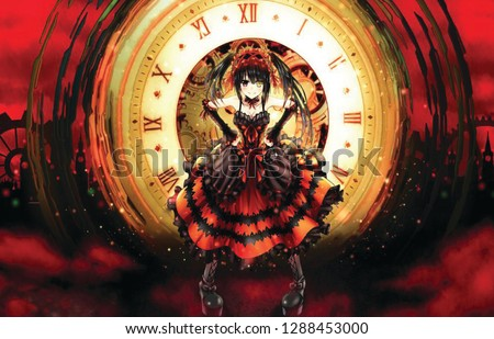 Stock Photo anime girl with clock in background