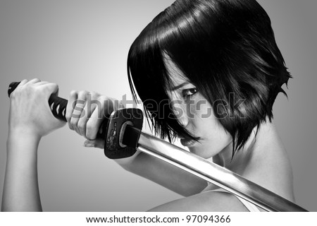 Anime stylized brunette with short hair watching with stern look holding a katana sword with two hands