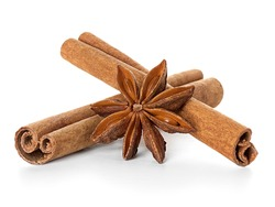 Anise and cinnamon isolated on white background