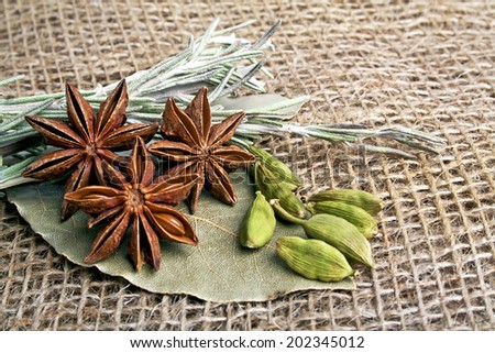 Anise, laurel leaf, cardamom and rosemary on burlap background. Spices.