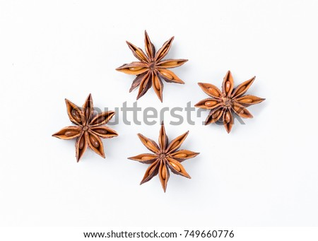 Anise star  on white background. Aniseed. True star anise close up. Badiane. Spices. #749660776