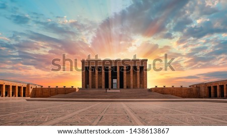 Anitkabir, Mausoleum of Ataturk with dramatic sunset sky - Ankara, Turkey