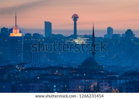 Ankara in sunset - Skyline view with major symbol buildings in the Capital city of Turkey - Ankara, Turkey