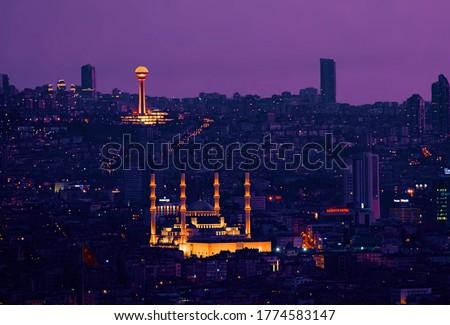 ankara night city skyline  kocatepe atakule Stok fotoğraf ©