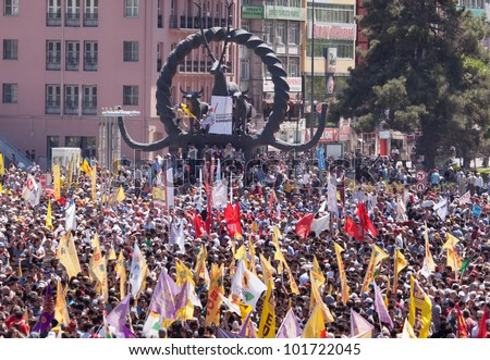 ANKARA,TURKEY - MAY 1: International Workers Day. May 1, 2012 in Ankara. Sihhiye Square is the center of the protest and celebrations.