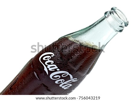 ANKARA TURKEY - October 23, 2017 Editorial photo of Classic Coca-Cola bottle on White Background. Coca-Cola Company is the most popular market leader in Turkey.