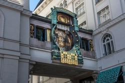 Ankeruhr (Anker clock), Famous Astronomical Art Nouveau Clock On Hoher Markt in Vienna Austria, Build By Franz Matsch In 1914