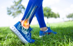 Ankle pain in detail - Sports injuries concept