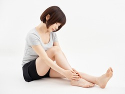 ankle pain woman white background