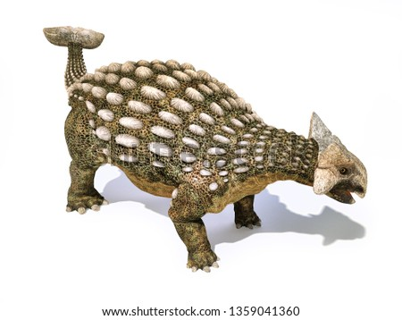 Ankylosaurus dinosaur isolated on white background with dropped shadow. 3d rendering. Zdjęcia stock ©