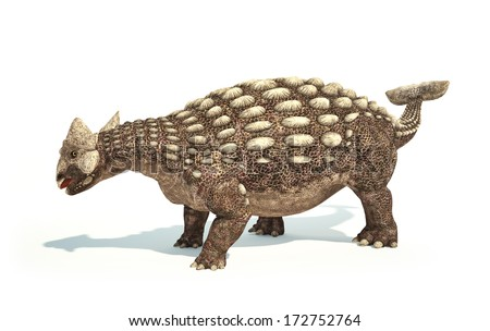 Ankylosaurus Dinosaur photo-realistic and scientifically correct representation Dynamic posture On white background with drop shadow Clipping path included