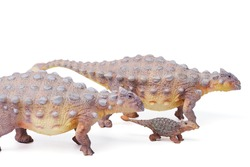 Ankylosaurus is a herbivore genus of armored dinosaur with baby, the dinosaur from the very end of the Cretaceous period. isolated on white background. closeup dinosaur and monster model.