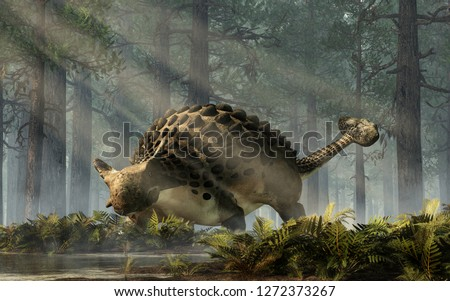 Ankylosaurus, one of the most popular dinosaurs, was a cretaceous era ornithischian herbivore. The armored dino stands in a forest of fir trees with a floor of ferns. 3D Rendering.