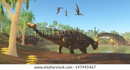 Ankylosaurus Two Ankylosaurus dinosaurs come down to a swamp to drink as an Argentinosaurus grazes on duckweed