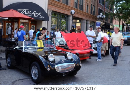 ANN ARBOR, MI - JULY 13: 1960 Austin Healey at the Rolling Sculpture car show July 13, 2012 in Ann Arbor, MI.