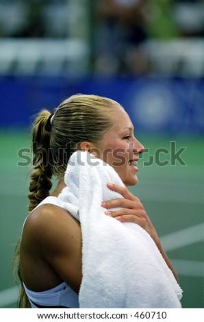 Anna Kournikova After Upsetting Lindsay Davenport, 2000 Acura Tennis Classic